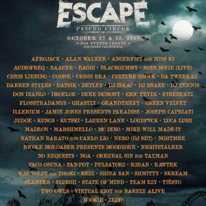 Escape Psycho Circus 2017 Lineup